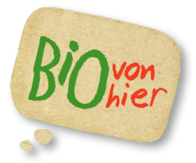 Bio von hier logo in einer Sprechblase
