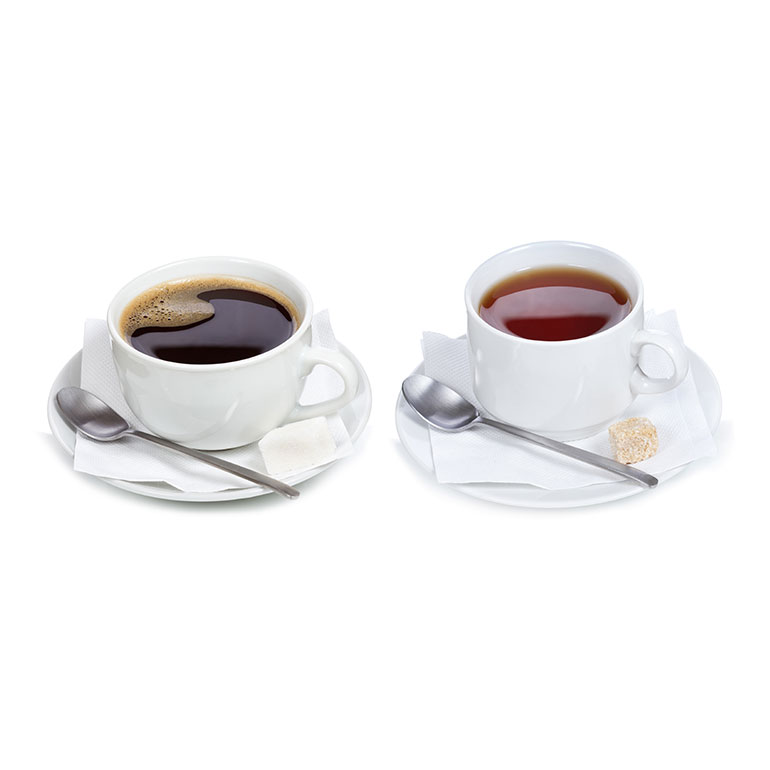 Kaffe und Tee im Becher Bio